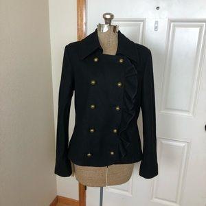 DKNY Ruffle Black Coat